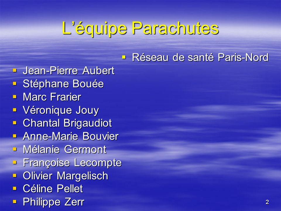2 Léquipe Parachutes Réseau de santé Paris-Nord Réseau de santé Paris-Nord Jean-Pierre Aubert Jean-Pierre Aubert Stéphane Bouée Stéphane Bouée Marc Fr