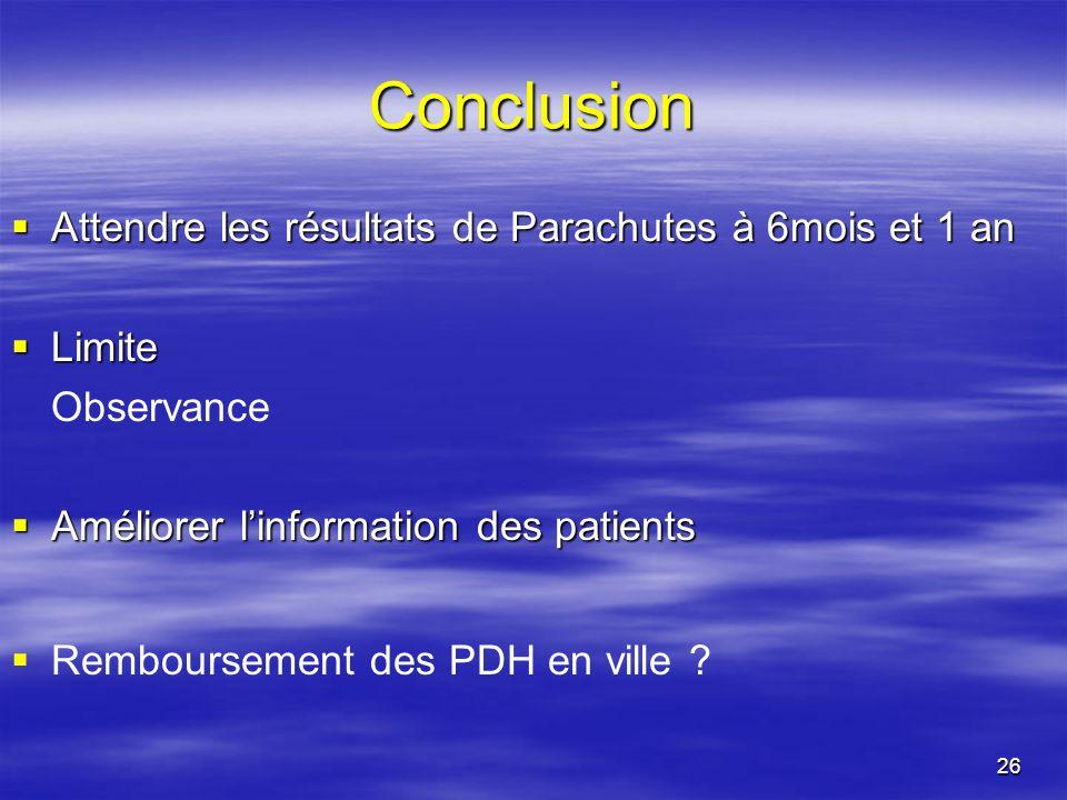 26 Conclusion Attendre les résultats de Parachutes à 6mois et 1 an Attendre les résultats de Parachutes à 6mois et 1 an Limite Limite Observance Améli