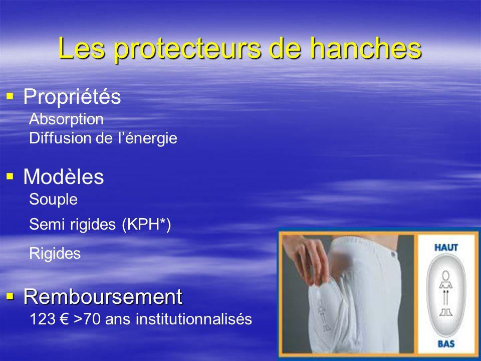 3 Les protecteurs de hanches Propriétés Absorption Diffusion de lénergie Modèles Souple Semi rigides (KPH*) Rigides Remboursement Remboursement 123 >7