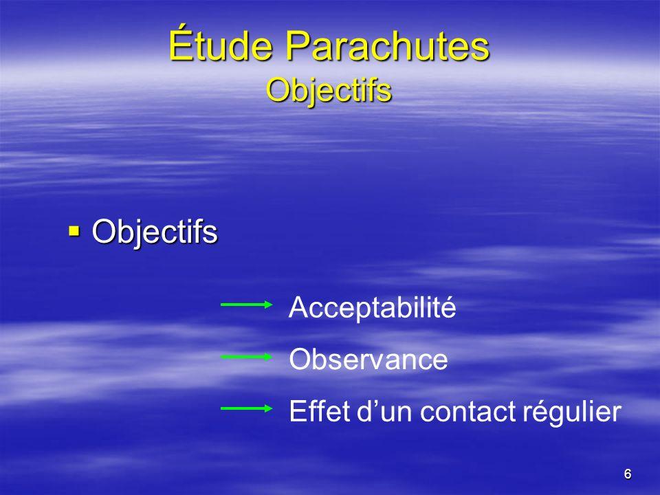 6 Étude Parachutes Objectifs Objectifs Objectifs Acceptabilité Observance Effet dun contact régulier