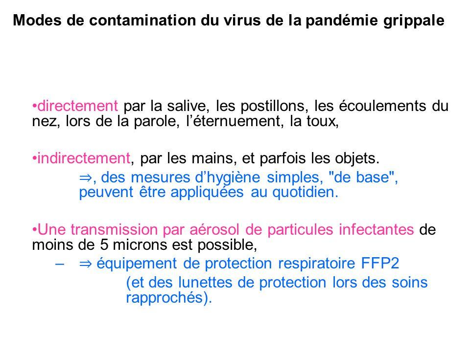 Modes de contamination du virus de la pandémie grippale directement par la salive, les postillons, les écoulements du nez, lors de la parole, léternue