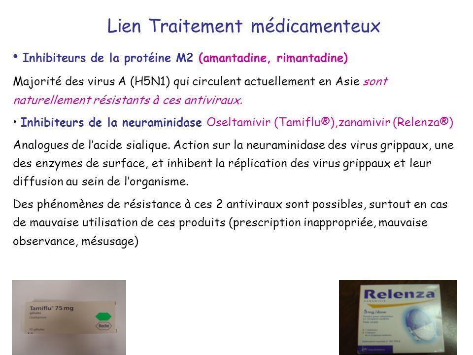 Lien Traitement médicamenteux Inhibiteurs de la protéine M2 (amantadine, rimantadine) Majorité des virus A (H5N1) qui circulent actuellement en Asie s