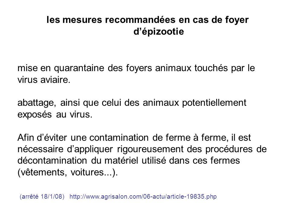 les mesures recommandées en cas de foyer dépizootie mise en quarantaine des foyers animaux touchés par le virus aviaire. abattage, ainsi que celui des