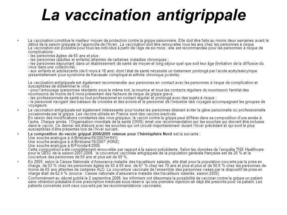 La vaccination antigrippale La vaccination constitue le meilleur moyen de protection contre la grippe saisonnière. Elle doit être faite au moins deux