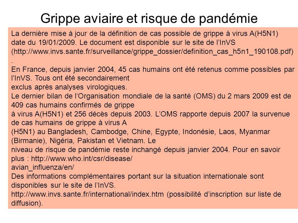 Grippe aviaire et risque de pandémie La dernière mise à jour de la définition de cas possible de grippe à virus A(H5N1) date du 19/01/2009. Le documen