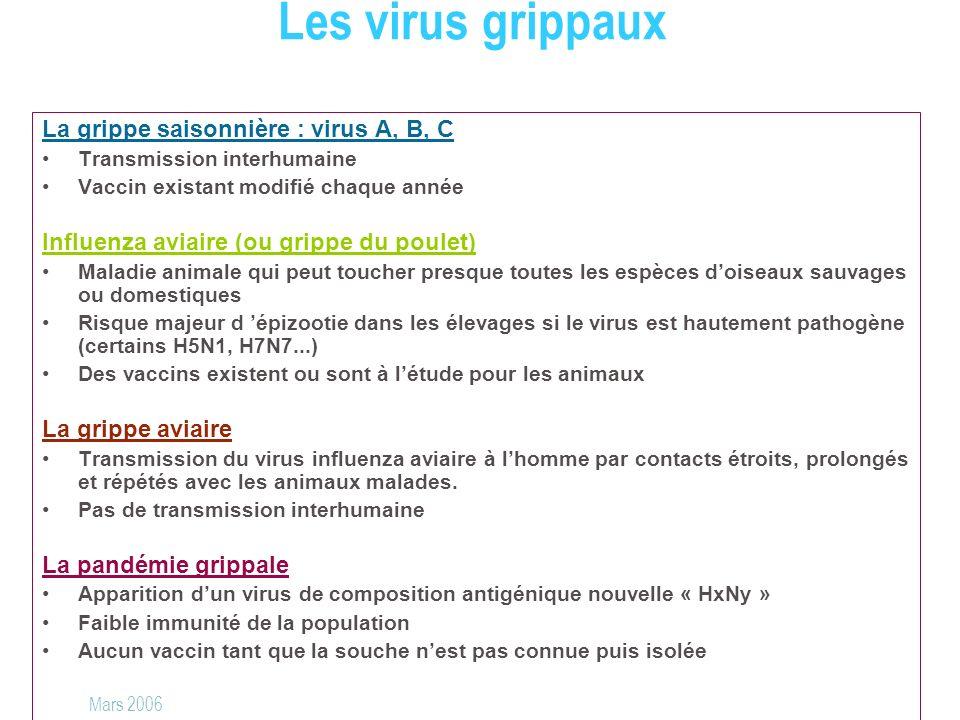 La grippe saisonnière : virus A, B, C Transmission interhumaine Vaccin existant modifié chaque année Influenza aviaire (ou grippe du poulet) Maladie a