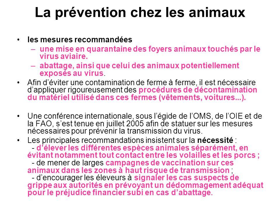 La prévention chez les animaux les mesures recommandées –une mise en quarantaine des foyers animaux touchés par le virus aviaire. –abattage, ainsi que