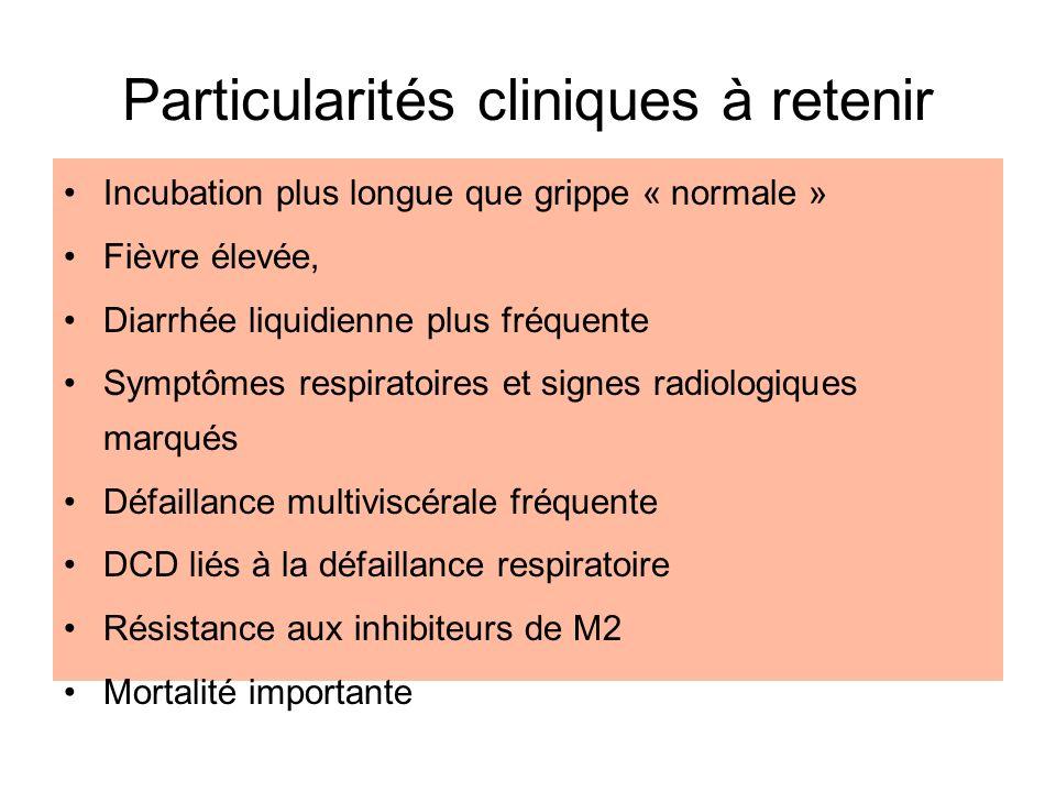 Particularités cliniques à retenir Incubation plus longue que grippe « normale » Fièvre élevée, Diarrhée liquidienne plus fréquente Symptômes respirat