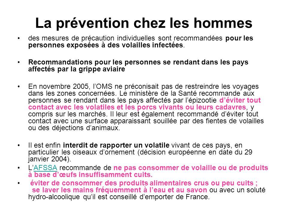La prévention chez les hommes des mesures de précaution individuelles sont recommandées pour les personnes exposées à des volailles infectées. Recomma