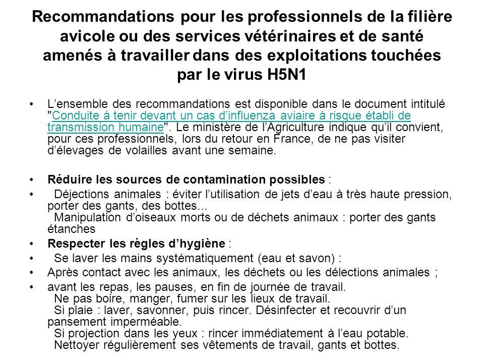 Recommandations pour les professionnels de la filière avicole ou des services vétérinaires et de santé amenés à travailler dans des exploitations touc