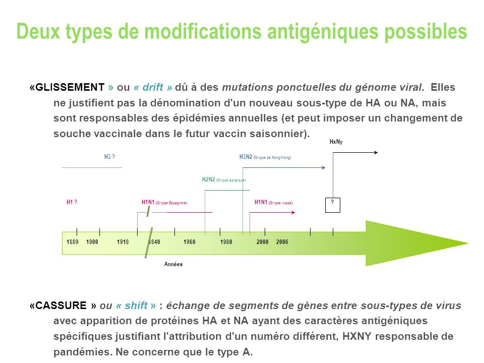 Deux types de modifications antigéniques possibles «GLISSEMENT » ou « drift » dû à des mutations ponctuelles du génome viral. Elles ne justifient pas
