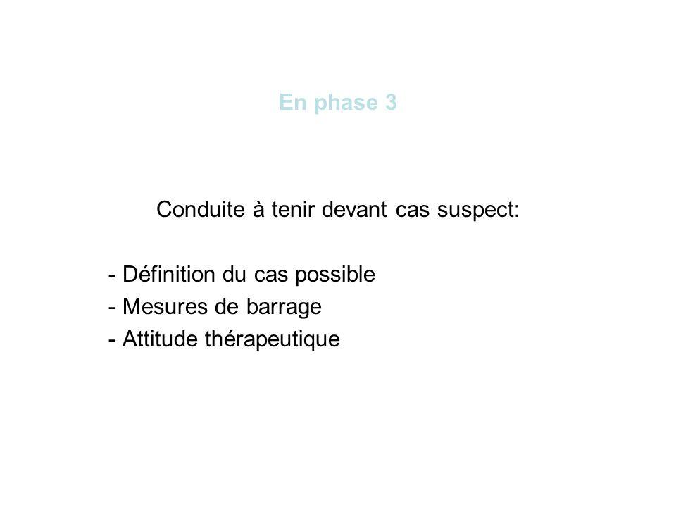 En phase 3 Conduite à tenir devant cas suspect: - Définition du cas possible - Mesures de barrage - Attitude thérapeutique