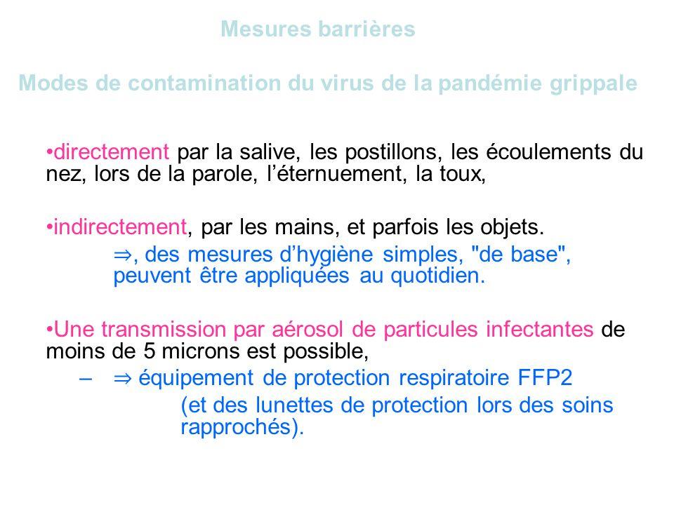 Mesures barrières Modes de contamination du virus de la pandémie grippale directement par la salive, les postillons, les écoulements du nez, lors de l
