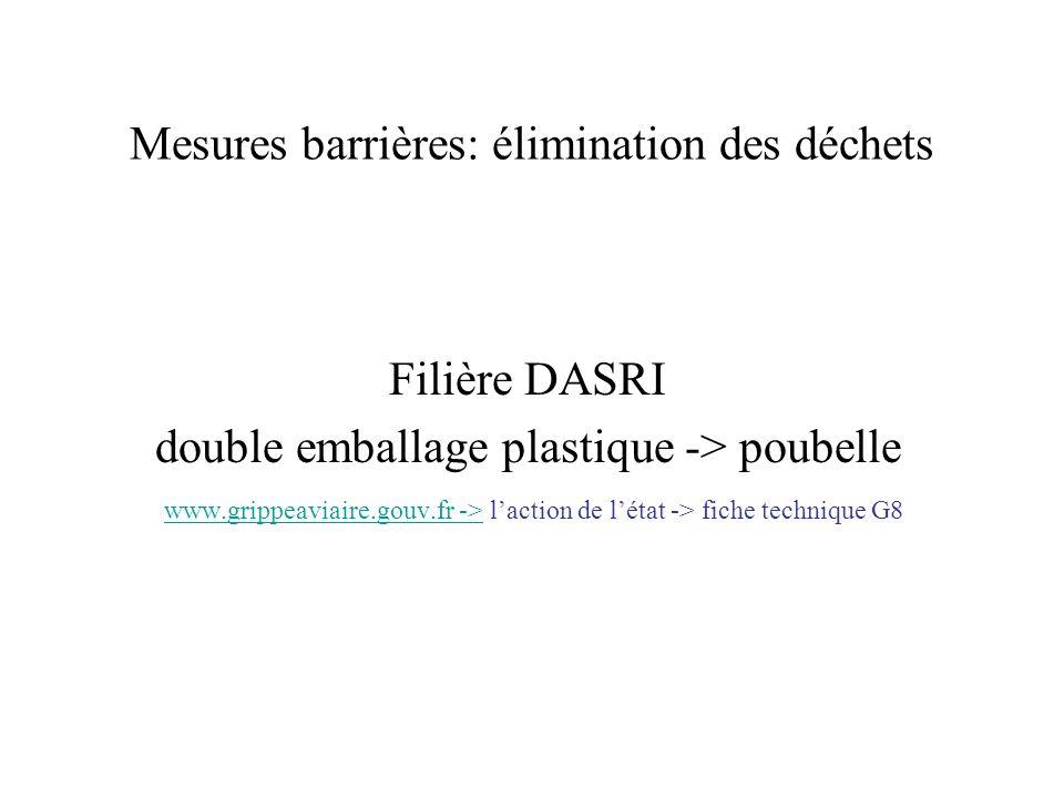 Mesures barrières: élimination des déchets Filière DASRI double emballage plastique -> poubelle www.grippeaviaire.gouv.fr -> laction de létat -> fiche