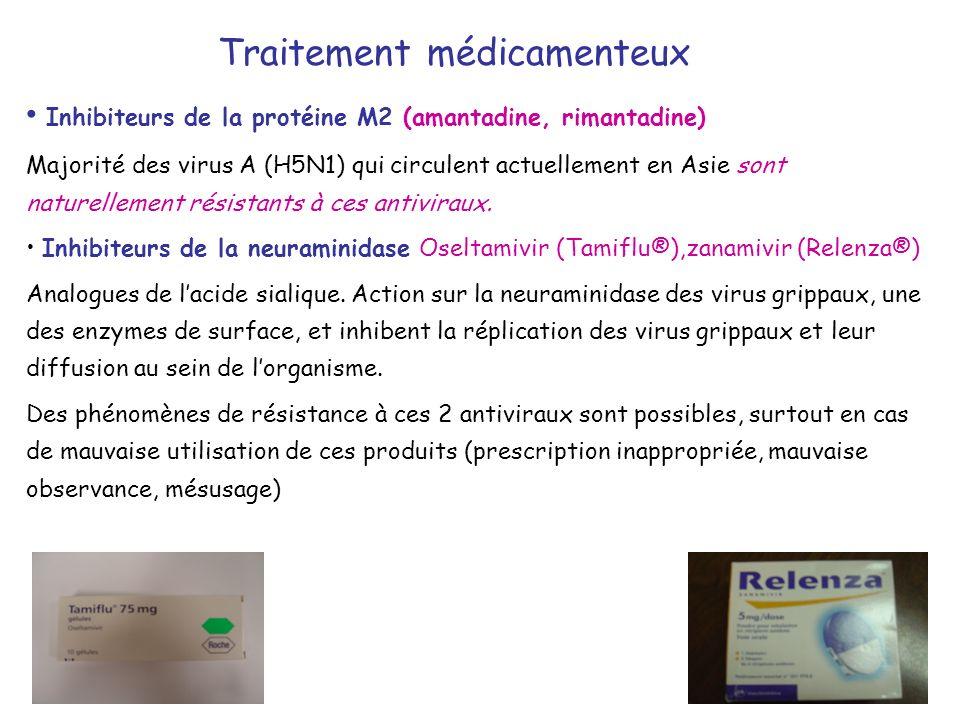 Traitement médicamenteux Inhibiteurs de la protéine M2 (amantadine, rimantadine) Majorité des virus A (H5N1) qui circulent actuellement en Asie sont n