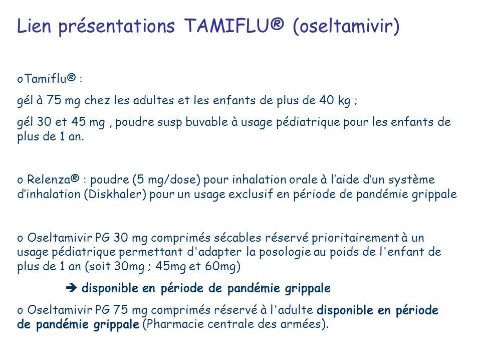 oTamiflu® : gél à 75 mg chez les adultes et les enfants de plus de 40 kg ; gél 30 et 45 mg, poudre susp buvable à usage pédiatrique pour les enfants d