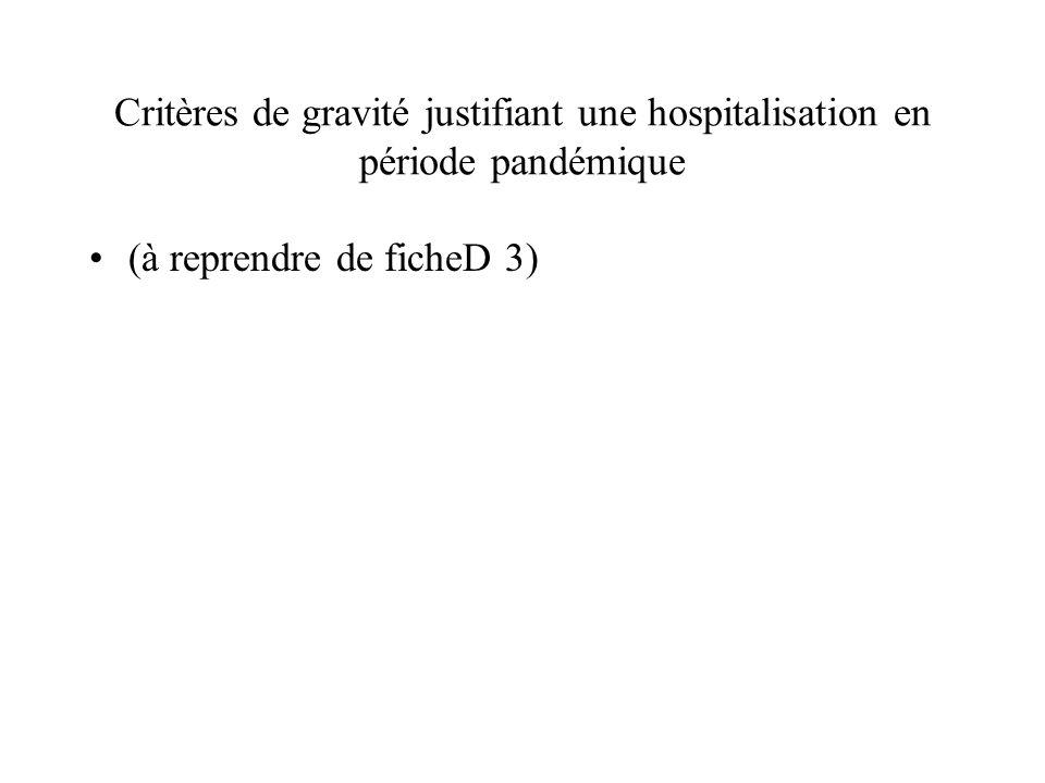 Critères de gravité justifiant une hospitalisation en période pandémique (à reprendre de ficheD 3)
