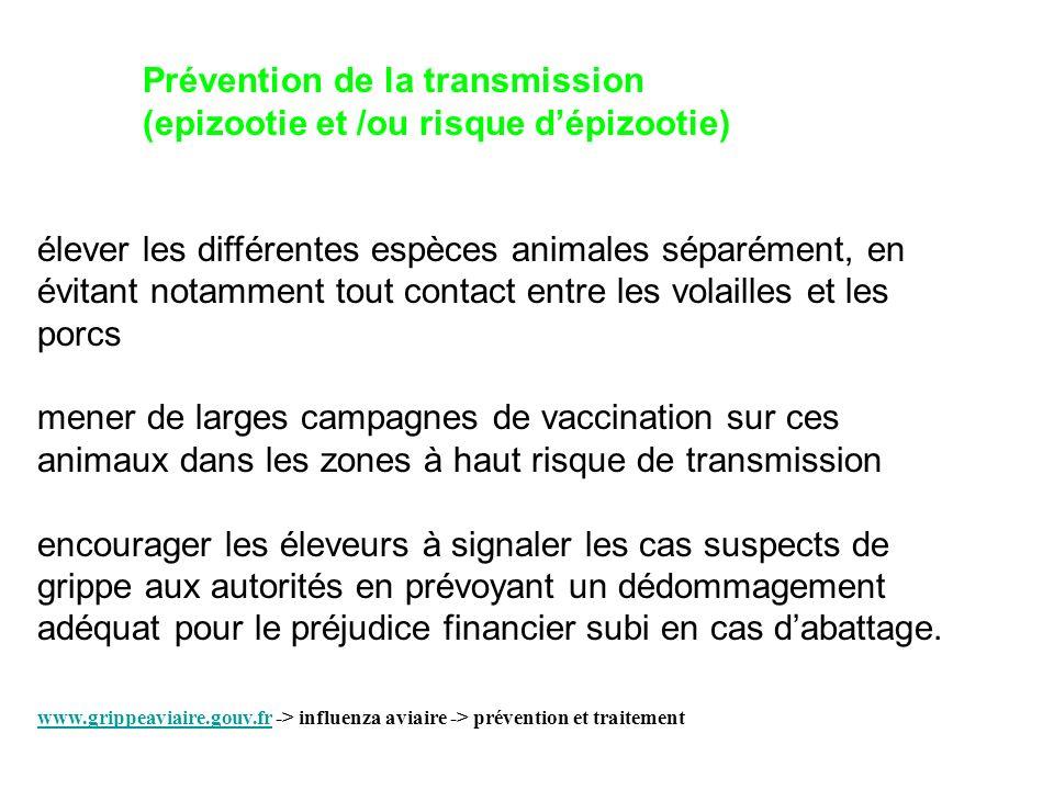 Prévention de la transmission (epizootie et /ou risque dépizootie) élever les différentes espèces animales séparément, en évitant notamment tout conta