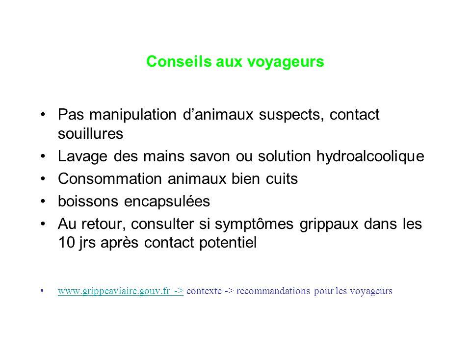 Conseils aux voyageurs Pas manipulation danimaux suspects, contact souillures Lavage des mains savon ou solution hydroalcoolique Consommation animaux