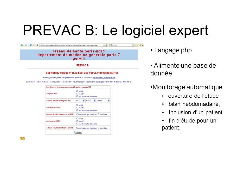 PREVAC B: Le logiciel expert Langage php Alimente une base de donnée Monitorage automatique ouverture de létude bilan hebdomadaire, Inclusion dun patient fin détude pour un patient.