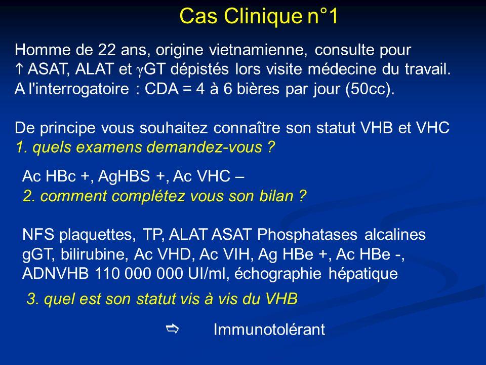 Homme de 22 ans, origine vietnamienne, consulte pour ASAT, ALAT et γ GT dépistés lors visite médecine du travail. A l'interrogatoire : CDA = 4 à 6 biè