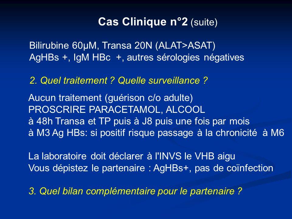 Cas Clinique n°2 (suite) Bilirubine 60µM, Transa 20N (ALAT>ASAT) AgHBs +, IgM HBc +, autres sérologies négatives 2. Quel traitement ? Quelle surveilla