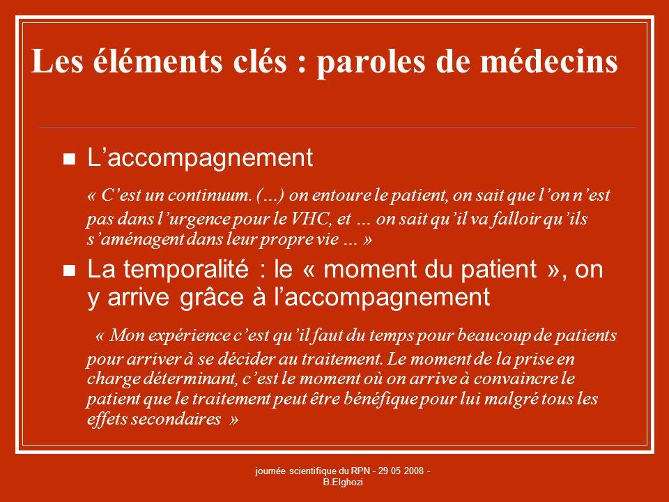 journée scientifique du RPN - 29 05 2008 - B.Elghozi Les éléments clés : paroles de médecins Laccompagnement « Cest un continuum. (…) on entoure le pa