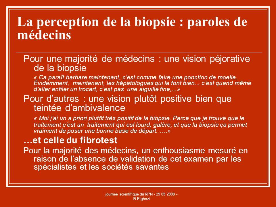 journée scientifique du RPN - 29 05 2008 - B.Elghozi La perception de la biopsie : paroles de médecins Pour une majorité de médecins : une vision péjo