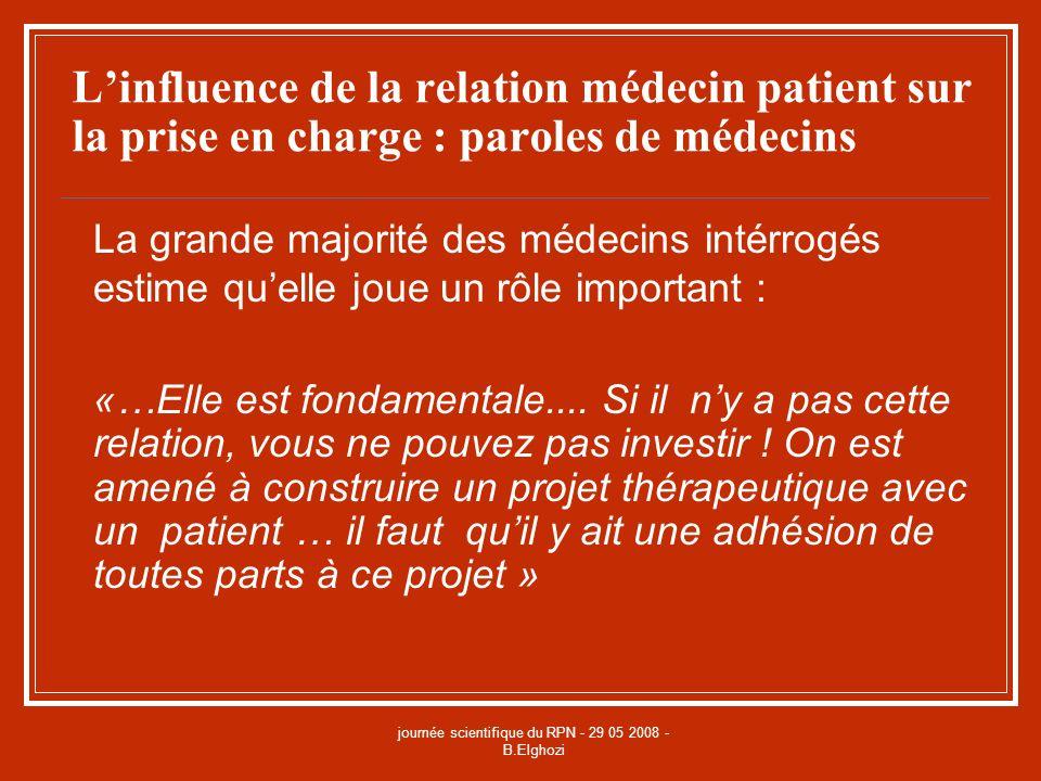 journée scientifique du RPN - 29 05 2008 - B.Elghozi Linfluence de la relation médecin patient sur la prise en charge : paroles de médecins La grande