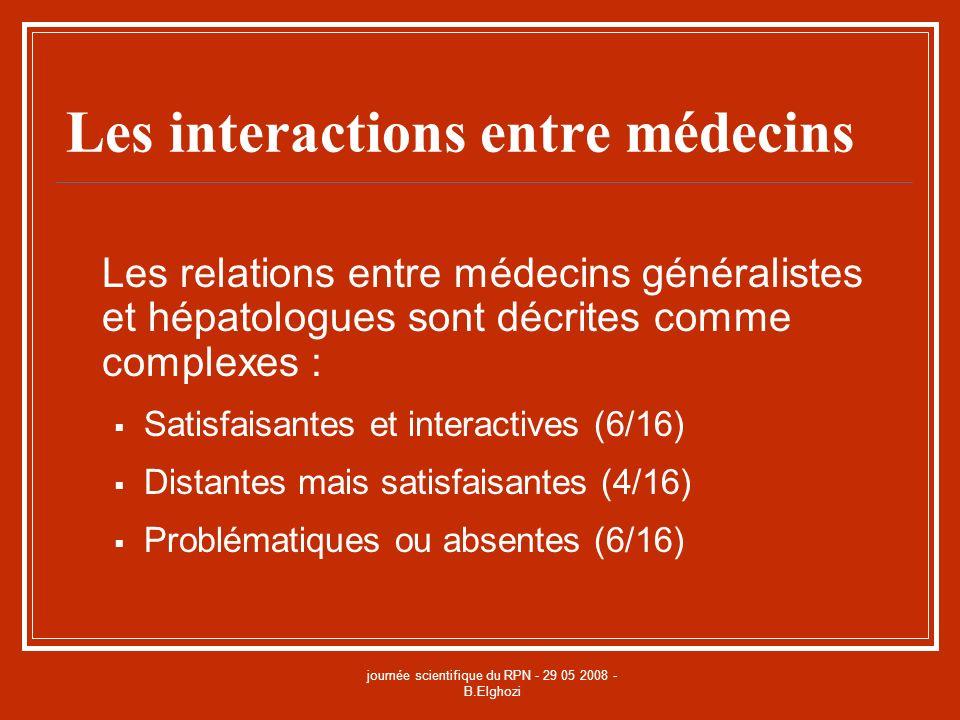 journée scientifique du RPN - 29 05 2008 - B.Elghozi Les interactions entre médecins Les relations entre médecins généralistes et hépatologues sont dé
