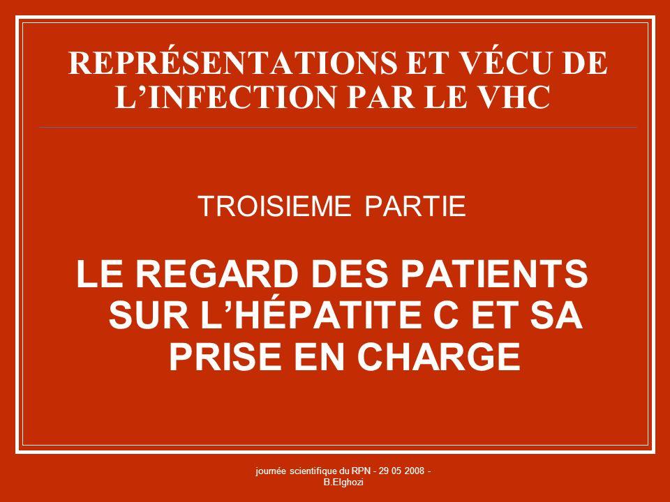 journée scientifique du RPN - 29 05 2008 - B.Elghozi REPRÉSENTATIONS ET VÉCU DE LINFECTION PAR LE VHC TROISIEME PARTIE LE REGARD DES PATIENTS SUR LHÉP