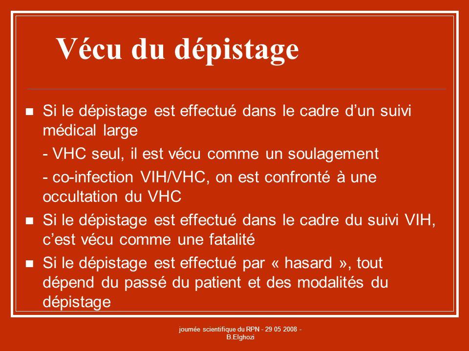 journée scientifique du RPN - 29 05 2008 - B.Elghozi Vécu du dépistage Si le dépistage est effectué dans le cadre dun suivi médical large - VHC seul,