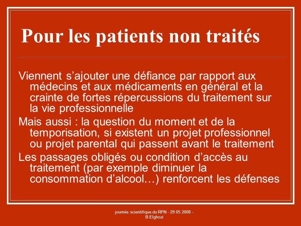 journée scientifique du RPN - 29 05 2008 - B.Elghozi Pour les patients non traités Viennent sajouter une défiance par rapport aux médecins et aux médi