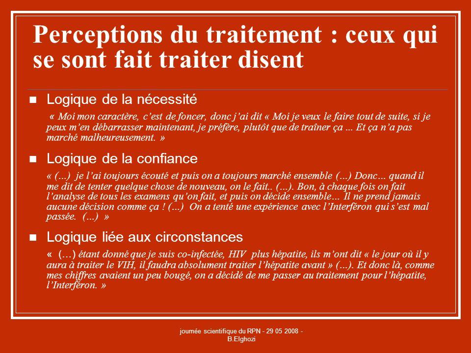 journée scientifique du RPN - 29 05 2008 - B.Elghozi Perceptions du traitement : ceux qui se sont fait traiter disent Logique de la nécessité « Moi mo