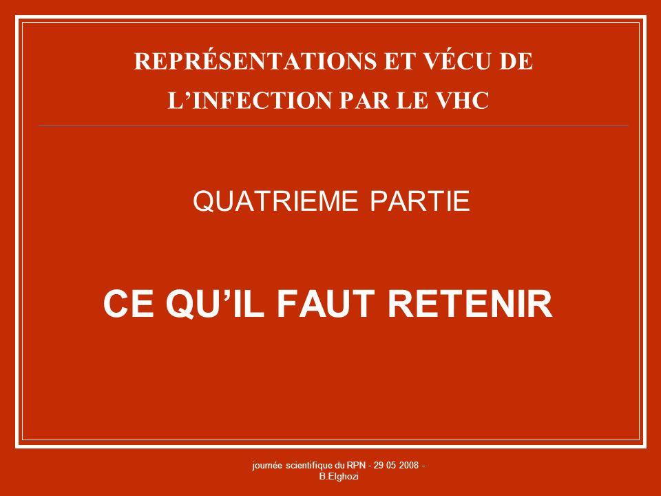 journée scientifique du RPN - 29 05 2008 - B.Elghozi REPRÉSENTATIONS ET VÉCU DE LINFECTION PAR LE VHC QUATRIEME PARTIE CE QUIL FAUT RETENIR