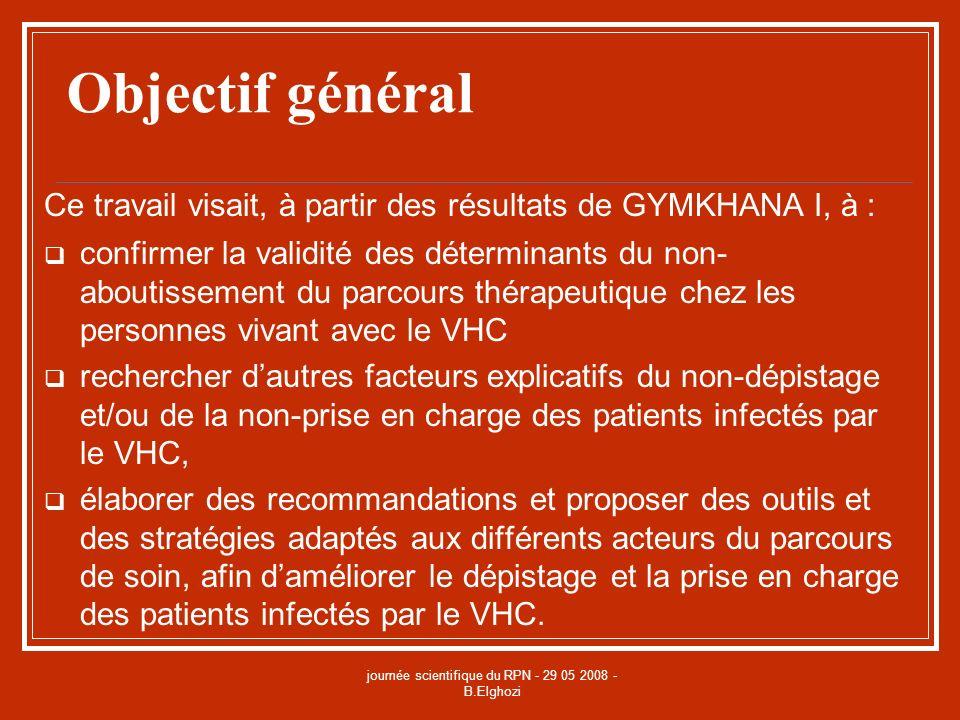 journée scientifique du RPN - 29 05 2008 - B.Elghozi Objectif général Ce travail visait, à partir des résultats de GYMKHANA I, à : confirmer la validi