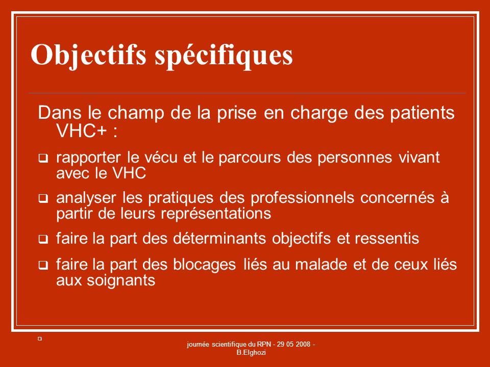 journée scientifique du RPN - 29 05 2008 - B.Elghozi Objectifs spécifiques Dans le champ de la prise en charge des patients VHC+ : rapporter le vécu e