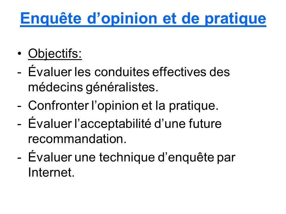 Enquête dopinion et de pratique Objectifs: -Évaluer les conduites effectives des médecins généralistes.