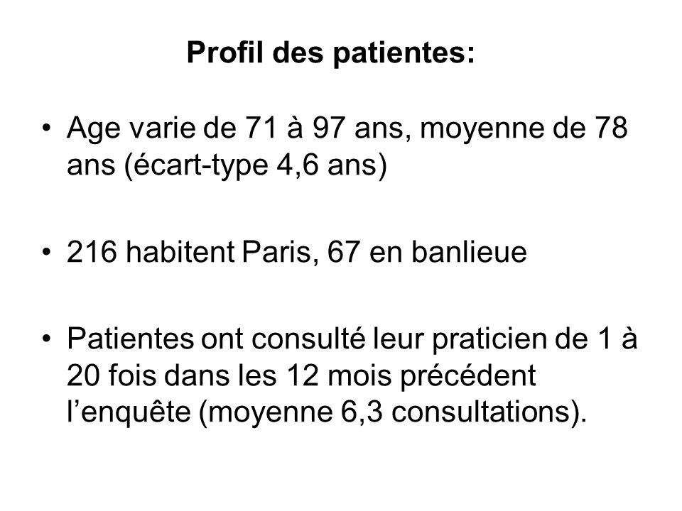 Profil des patientes: Age varie de 71 à 97 ans, moyenne de 78 ans (écart-type 4,6 ans) 216 habitent Paris, 67 en banlieue Patientes ont consulté leur praticien de 1 à 20 fois dans les 12 mois précédent lenquête (moyenne 6,3 consultations).