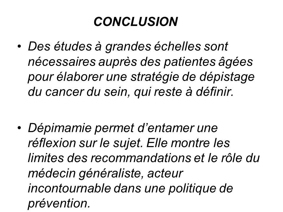 CONCLUSION Des études à grandes échelles sont nécessaires auprès des patientes âgées pour élaborer une stratégie de dépistage du cancer du sein, qui reste à définir.