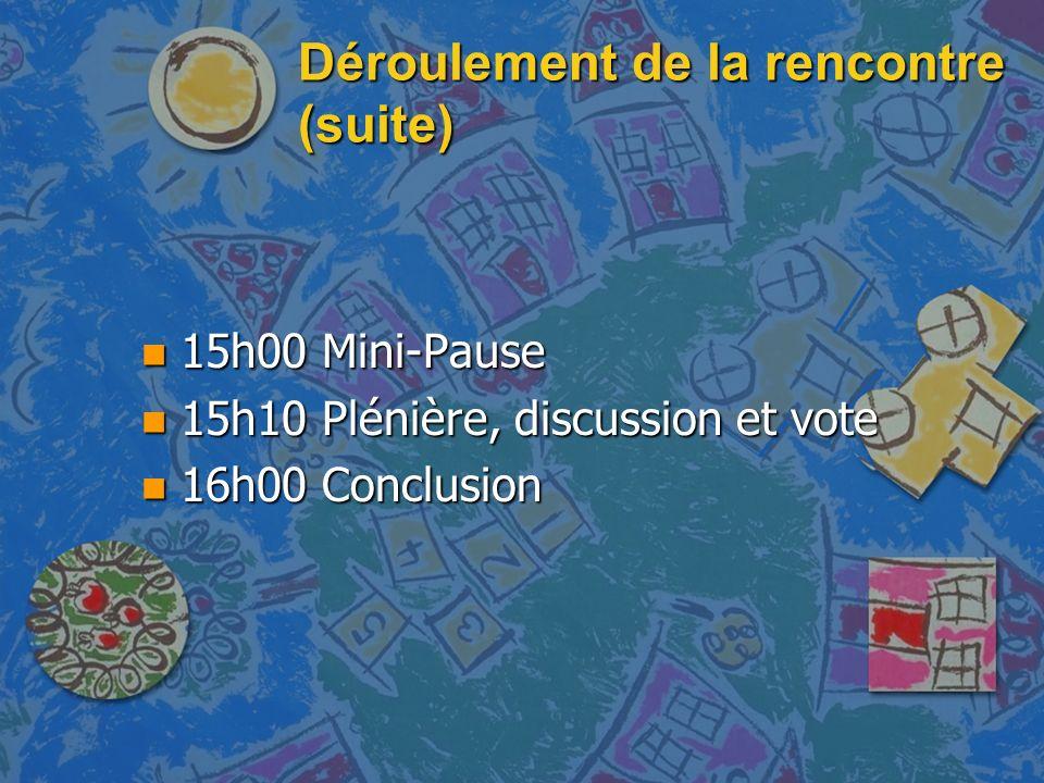 Déroulement de la rencontre (suite) n 15h00 Mini-Pause n 15h10 Plénière, discussion et vote n 16h00 Conclusion