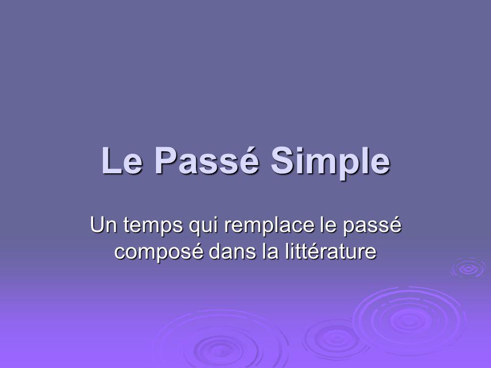 Le Passé Simple Un temps qui remplace le passé composé dans la littérature