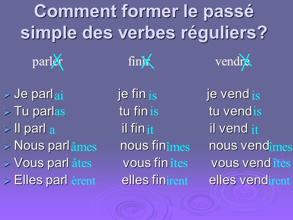 Comment former le passé simple des verbes réguliers.