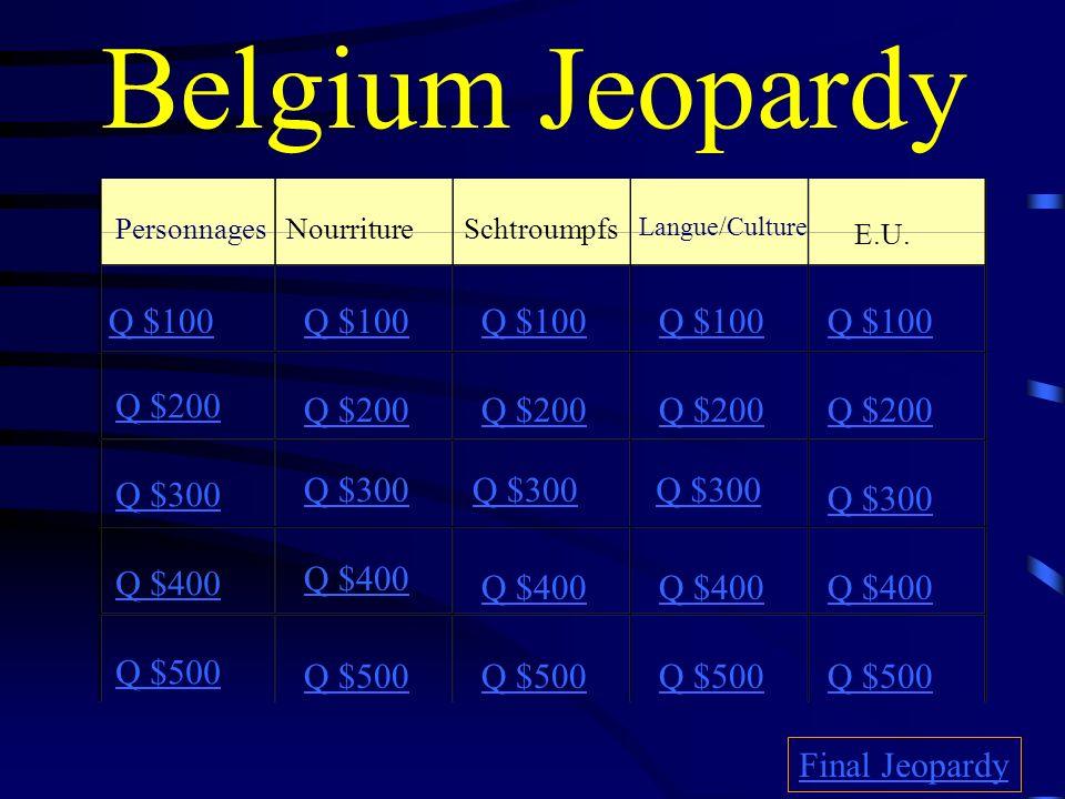 Belgium Jeopardy PersonnagesNourritureSchtroumpfs Langue/Culture E.U.