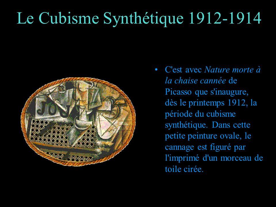 Le Cubisme Synthétique 1912-1914 C'est avec Nature morte à la chaise cannée de Picasso que s'inaugure, dès le printemps 1912, la période du cubisme sy