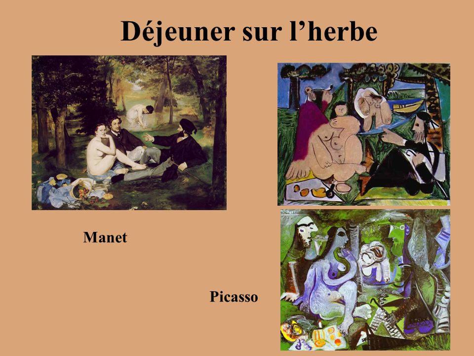 Déjeuner sur lherbe Manet Picasso