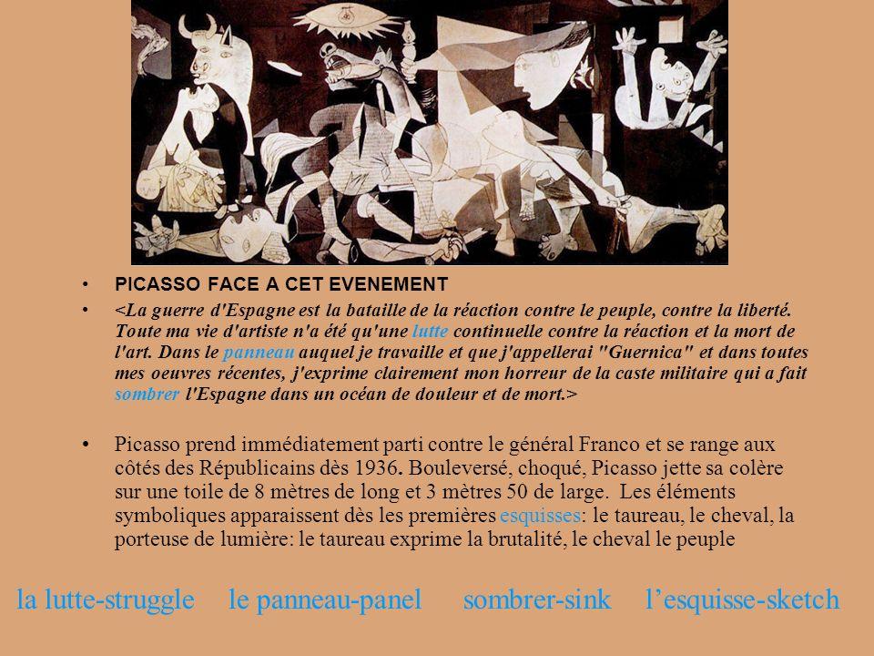 PICASSO FACE A CET EVENEMENT Picasso prend immédiatement parti contre le général Franco et se range aux côtés des Républicains dès 1936. Bouleversé, c