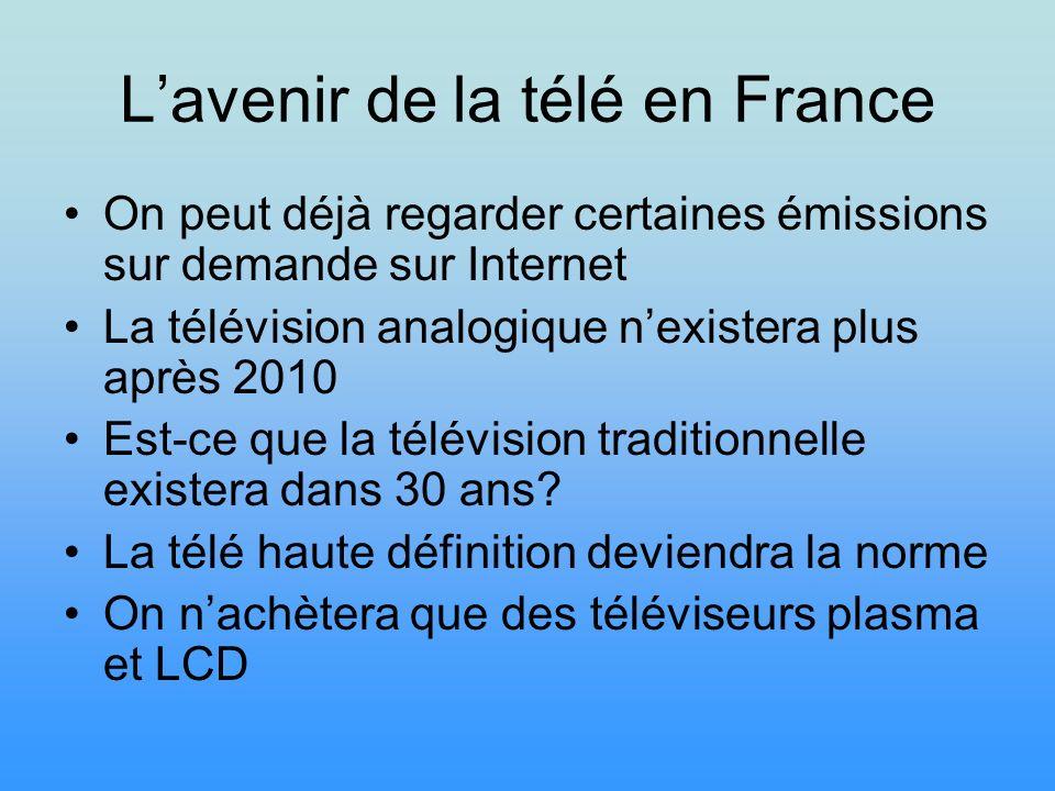 Lavenir de la télé en France On peut déjà regarder certaines émissions sur demande sur Internet La télévision analogique nexistera plus après 2010 Est