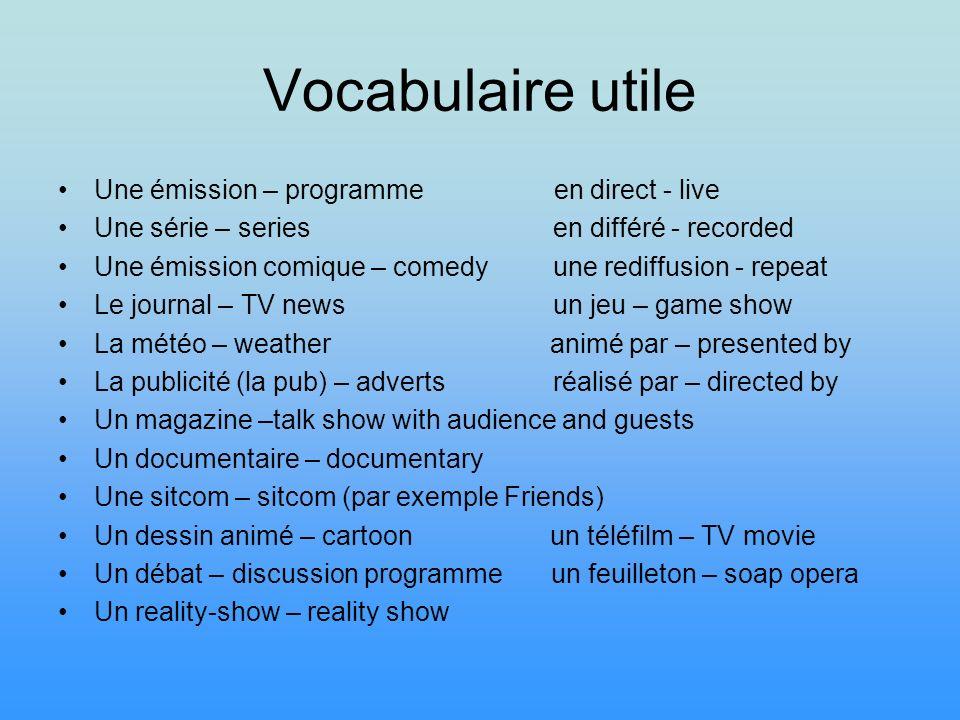 Vocabulaire utile Une émission – programme en direct - live Une série – series en différé - recorded Une émission comique – comedy une rediffusion - r