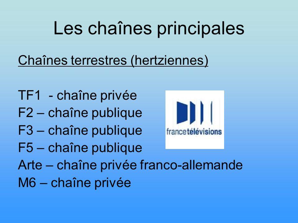 Les chaînes principales Chaînes terrestres (hertziennes) TF1 - chaîne privée F2 – chaîne publique F3 – chaîne publique F5 – chaîne publique Arte – cha
